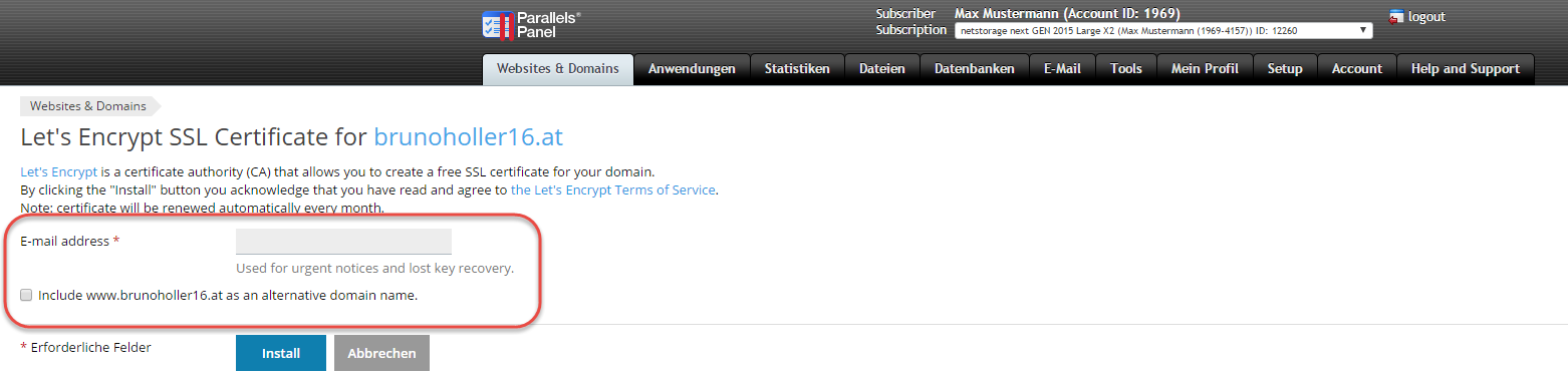 Let\'s Encrypt SSL Zertifikat   netstorage - Hosting und Domains